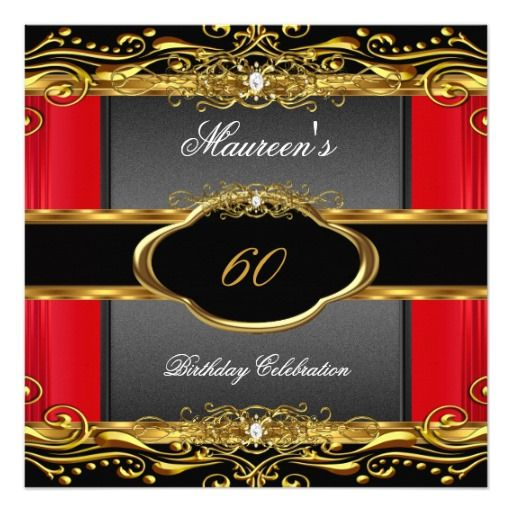 elegant red black gold 60th birthday party invitation in 2018 60th