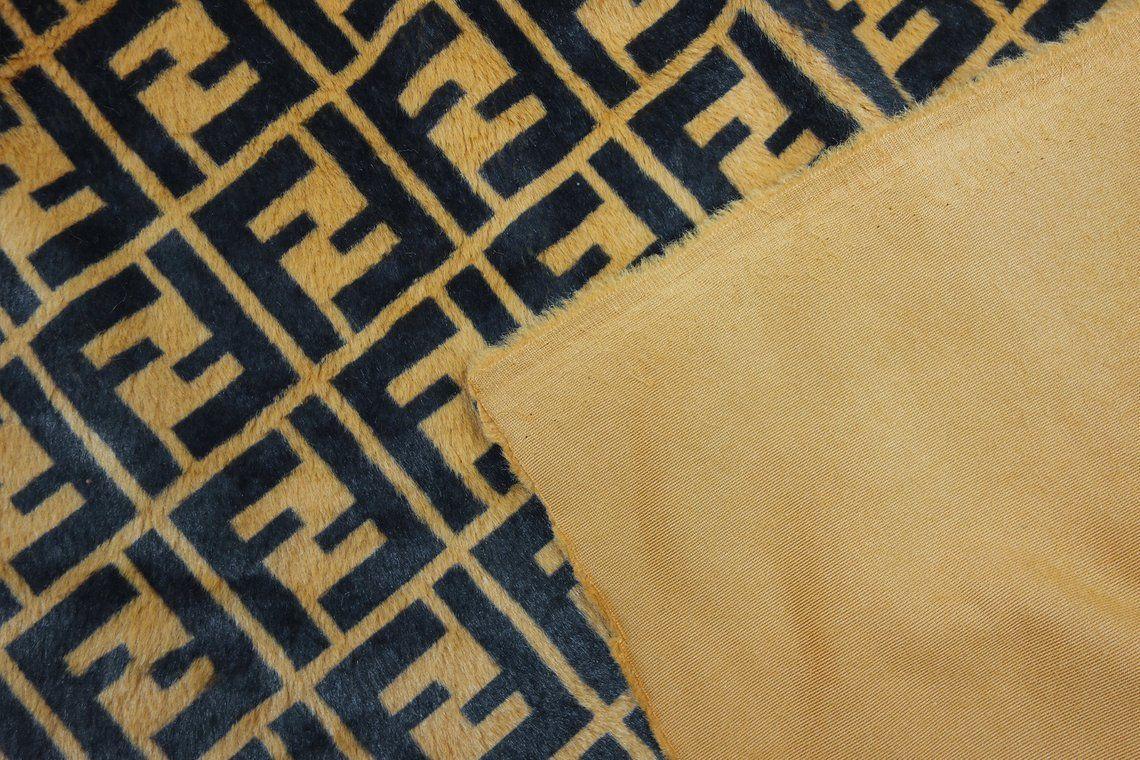 423dcb71631 Designer Inspired Monogram Fendi Faux Fur Fabric diagonal print ...
