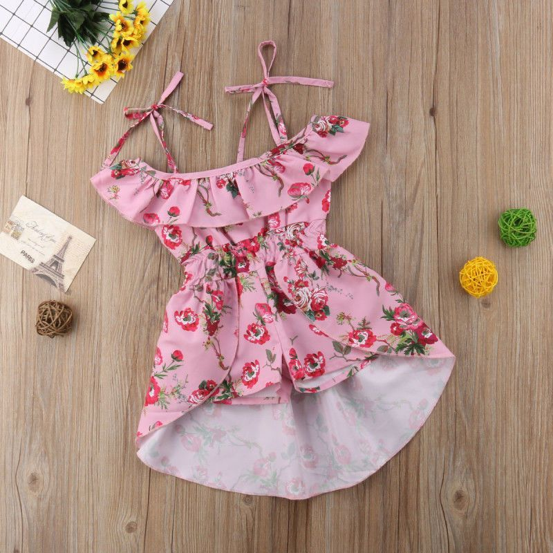 7f42ac1bb Kids Baby Girls Party Flower Off Shoulder Romper Dress Shorts ...