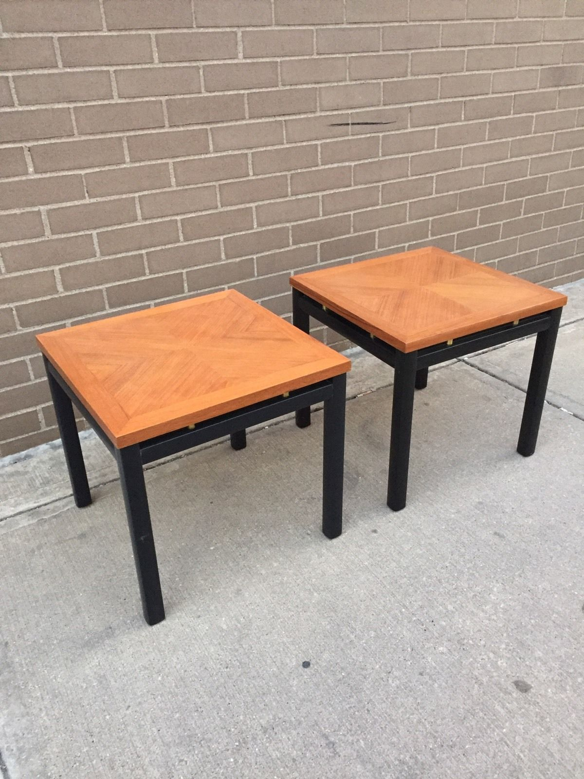 Teak And Black Lacquer End Tables. Furniture Lounge. 11 E. University Ave.