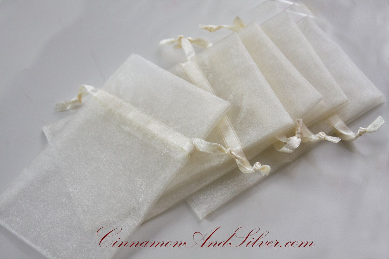 Ivory Organza Drawstring Bags, Wedding Gift Bags, Wedding Favor Bags ...