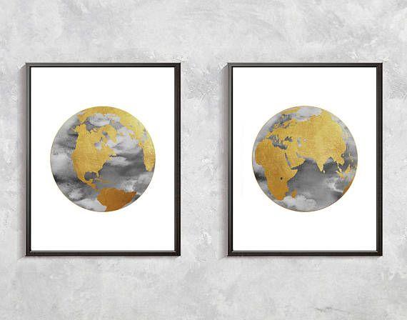Gold world map print watercolor globe gold decor world clobe gold world map print watercolor globe gold decor world clobe gumiabroncs Choice Image