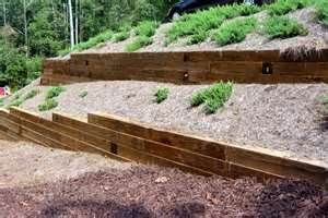 Wood Retaining Wall 2 Tiers Would Want Trees And Prettier Shrubs