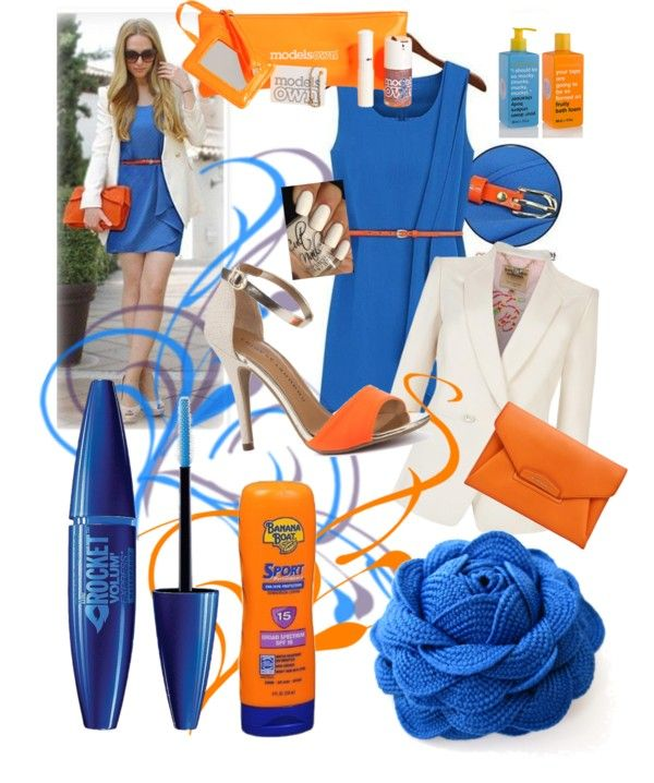 """orange and blue blends well"" by bookingmorelle on Polyvore"