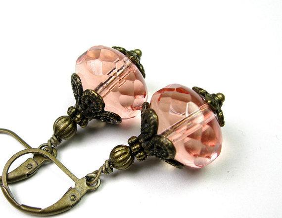 Vintage Style Earrings Dangle Earrings Dusty Rose by