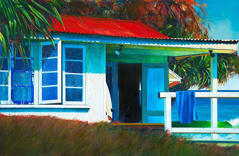Surf Shack 85x130cm Acrylic And Oil On Canvas