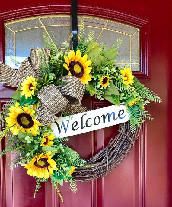 Welcome Wreath, Rustic Summer Wreaths, Sunflower, Wedding