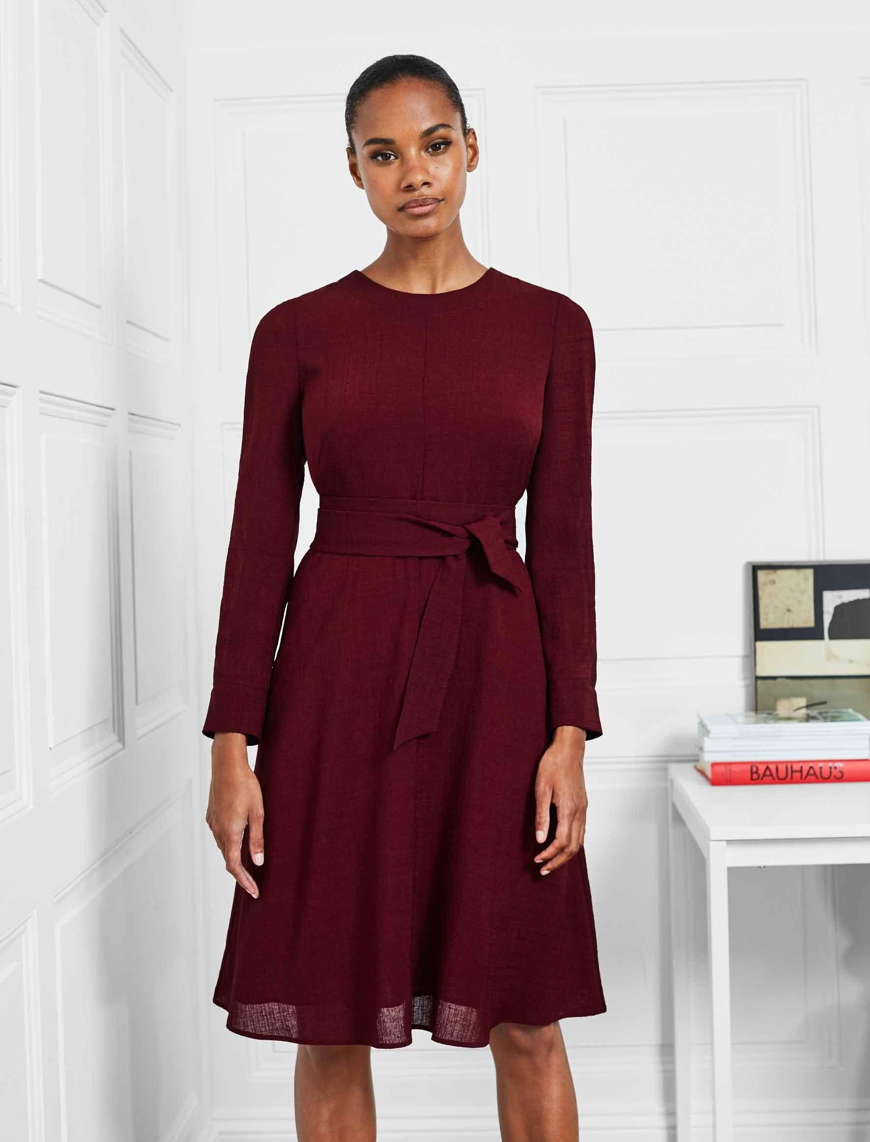 Long Sleeve Knee Length Dress With Wide Belt Dark Red Dark Red Long Sleeve Knee Dress Knee Length Dress Long Red Dress Dark Red Dresses [ 2323 x 1770 Pixel ]