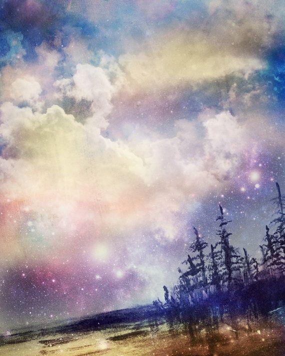 Landscape Art Starry Night Sky Digital Painting By