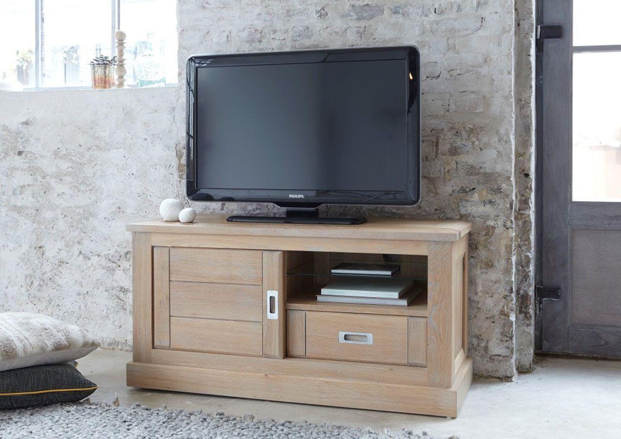 Meuble Tv En Pin Massif Brosse Et Laque Noir 2 Portes