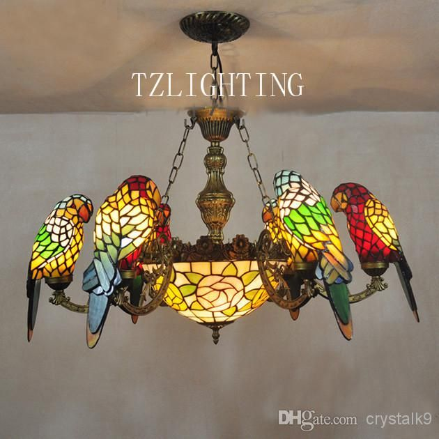 New Style Tiffany Chandelier Light Six Parrots Metal Pendent Lamp Hand Made Welding Glass Lampshade