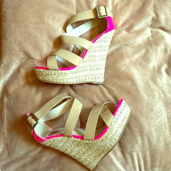 Neon pink platform wedges by 2bebe These wedges are super comfortable! The heel height is 6 1/2. Only wore a couple times. The sole is the only damaged/worn spot on the shoe. I do not have the box for them anymore. Shoes Espadrilles