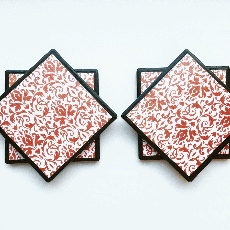 Damask Coasters - Orange Coasters - Tile Coasters - Coaster Set ...