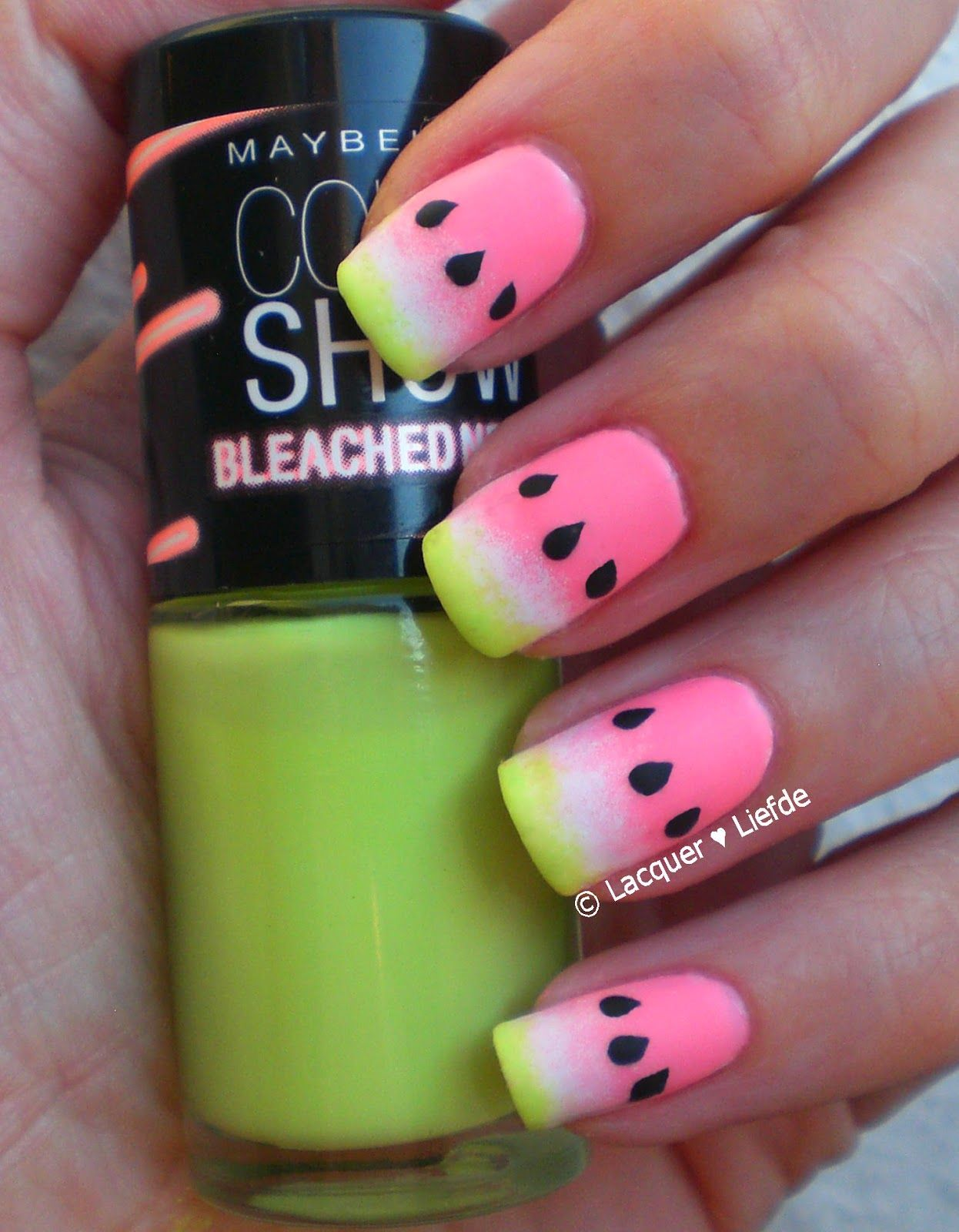Watermelon gradient with Bleached neons ... Nail Art Design ...