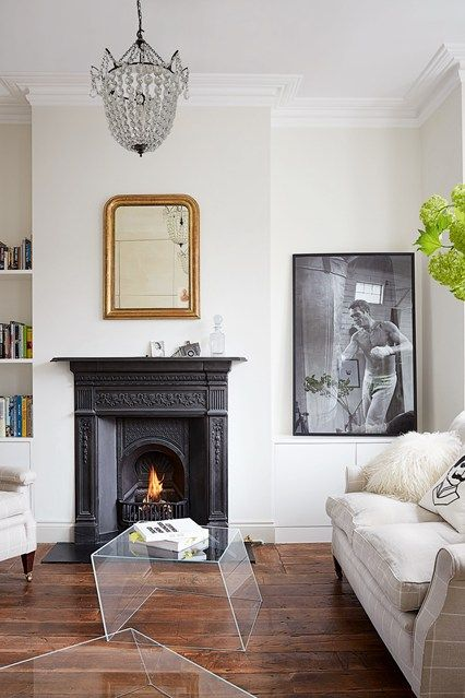Living room designs   Discover real homes on HOUSE by House   Garden   including this Edwardian flat in London. Wire Frame   Gardens  Fireplaces and Design