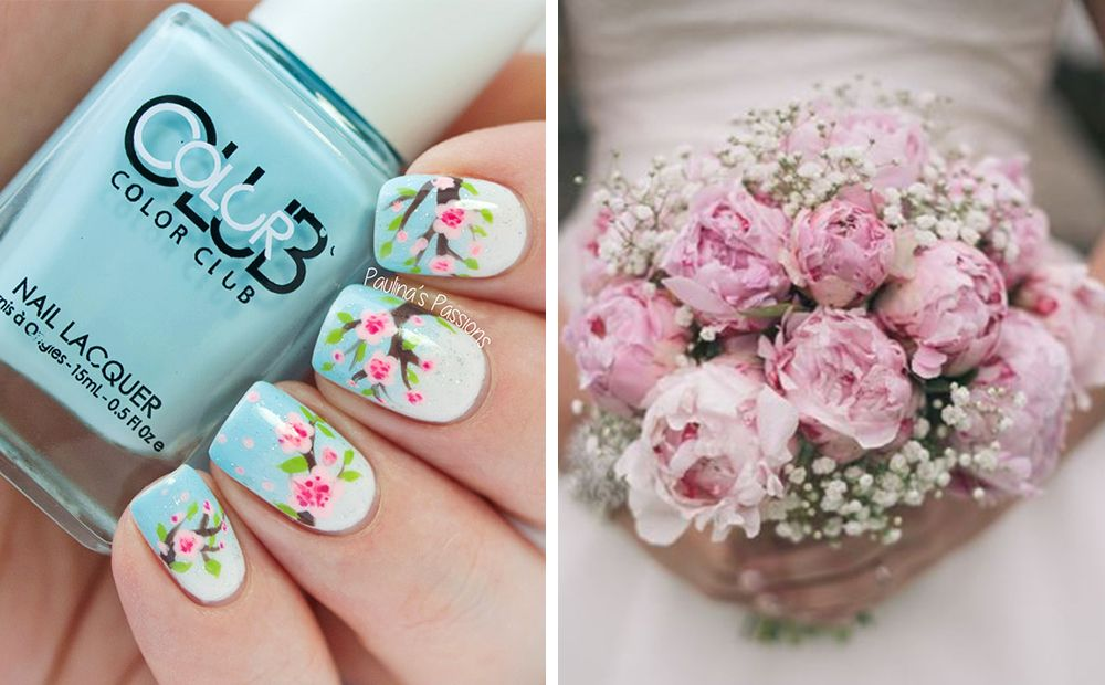 Paulinas Passions have created a stunning floral nail design which is so super detailed – we are totally in awe. There are a few colours you could try and match the bouquet to, but we decided that the blush pink shade was the prettiest fit. The multiple tones of pink, along with the gypsophila plant, all work together to bring out every detail in the nail design.