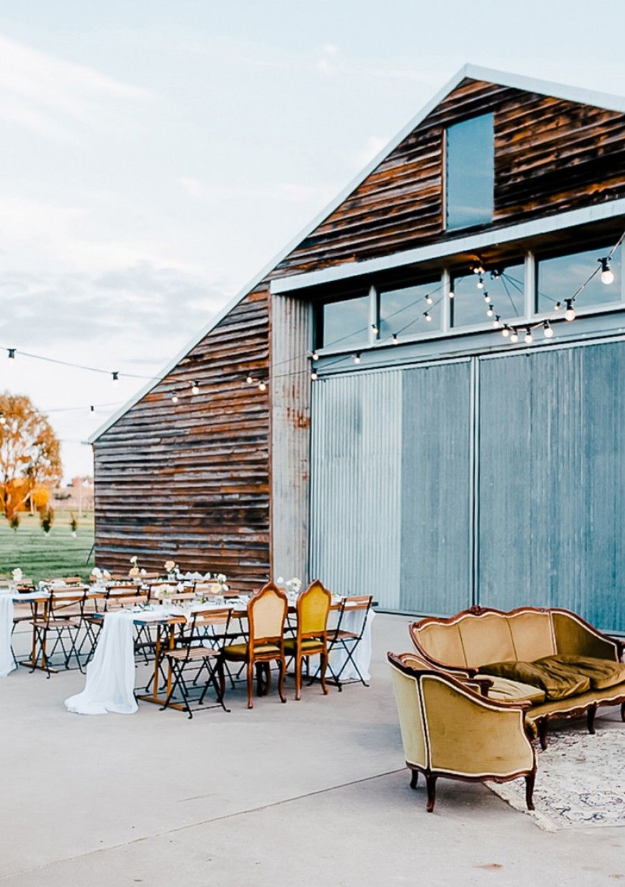 Wedding decorations ideas at home  barn wedding reception with outdoor vintage lounge area