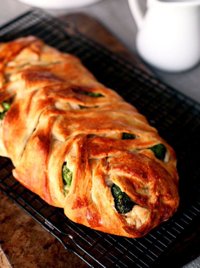Chicken Cheddar Broccoli Braid--Don't be fooled; it's not as intimidating as it looks. Store-bought crescent rolls to the rescue!