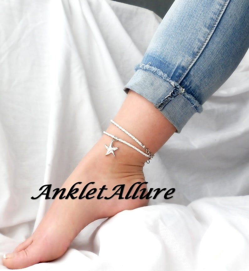 LEATHER Ankle Bracelet STARFISH Anklet White BEACH Ankle Bracelet Wrap Anklets for Women