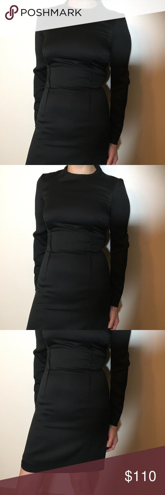 Long sleeve black dress snug fit satin finish and reiss