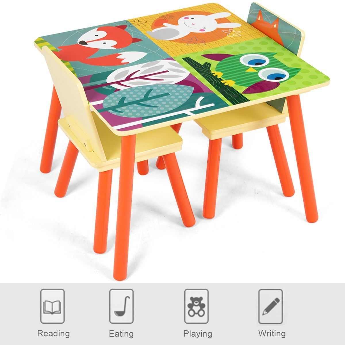 Wooden Cartoon Kids Table Chairs Set Of 2 Activity Table Desk Sets For Playing With Cartoon Pattern Mater Kids Table Chair Set Kids Furniture Diy Nursery Decor