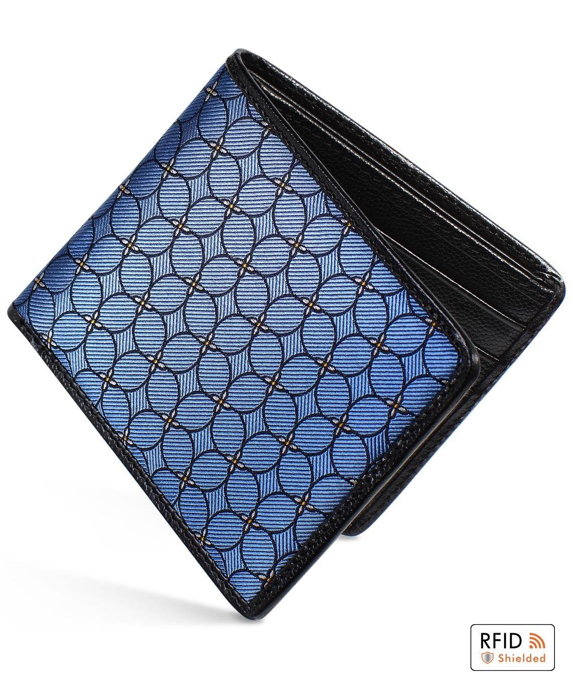 Slim billfold wallet black caviar leather blue petal