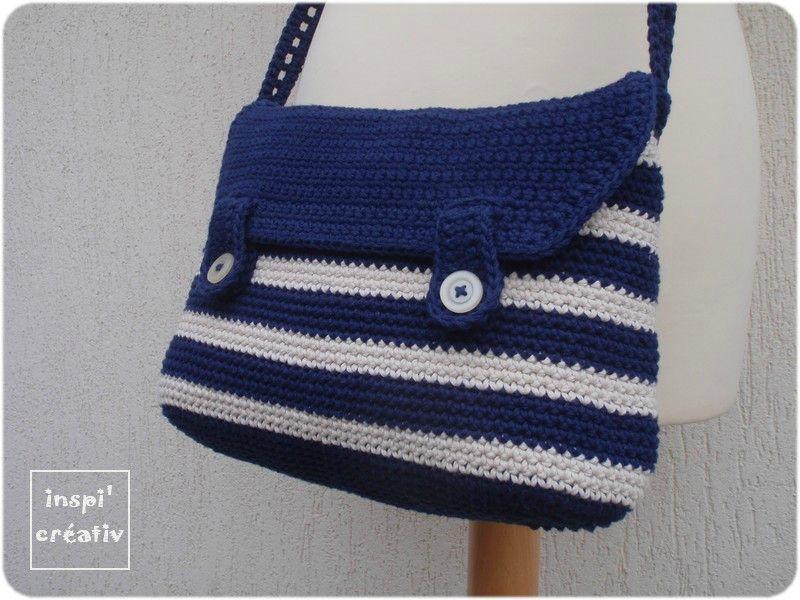 Tuto sac besace style marin inspirations cr atives - Tuto pour creer un sac en crochet ...