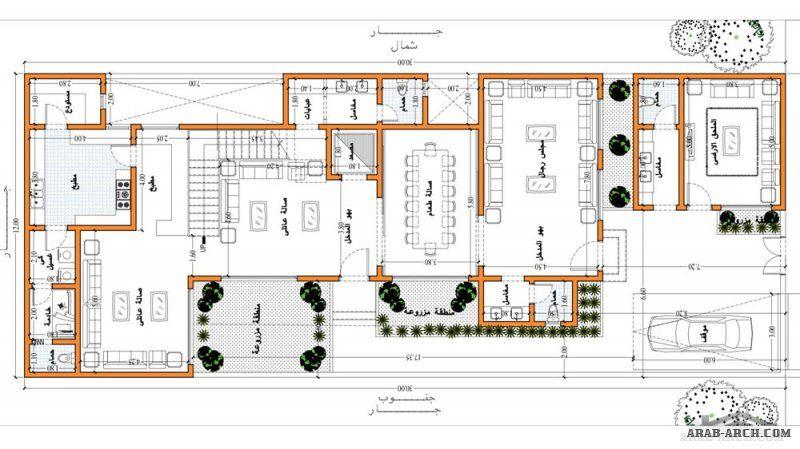 تصاميم فيلا دورين مساحة الارض 12x30 من تصميم تصميم المهندس احمد جاويش مكتب ياسر العقبي Square House Plans House Map Family House Plans