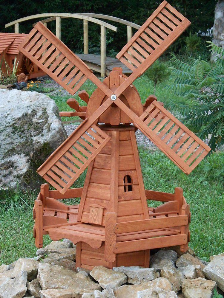 Windmühle aus Kiefernholz, 105 cm hoch Gartenwindmühle
