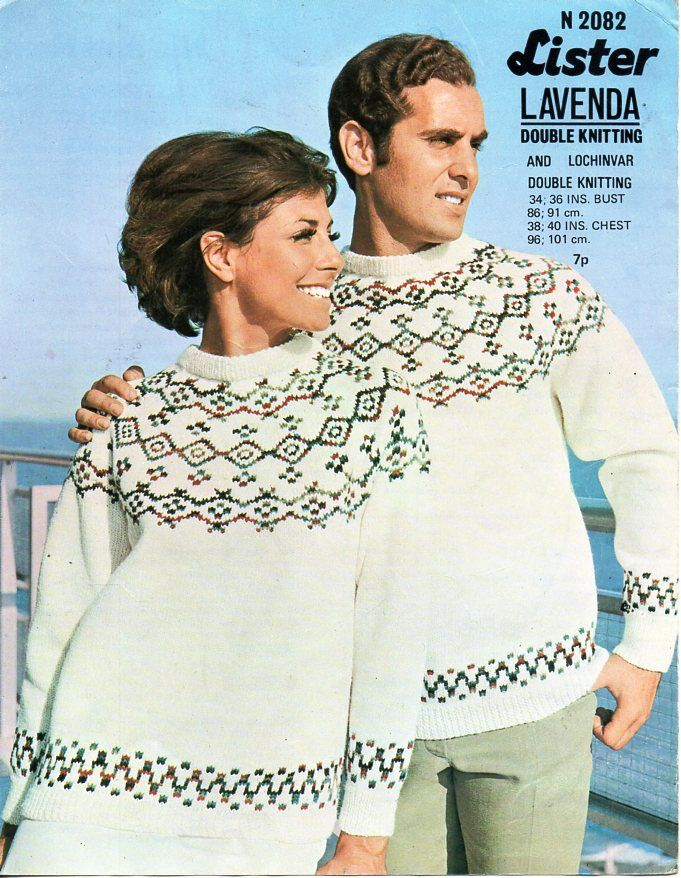 womens / mens fair isle sweater knitting pattern DK ladies ...