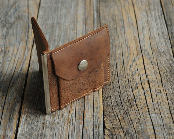 Bi-fold leather wallet, dark brown thin credit card cash holder ed0ee6c9ccc