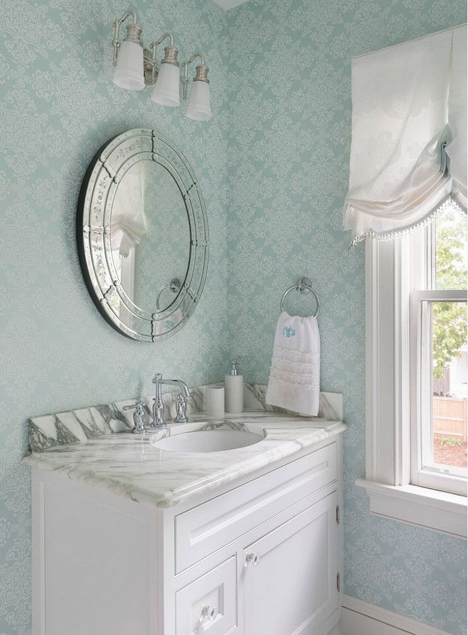 Bathroom Designs York turquoise wallpaper. powder room with light turquoise wallpaper