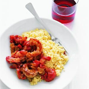 Moroccan Shrimp Recipe | MyRecipes.com Mobile  Sounds awesome, I wish there was a sauce or broth...