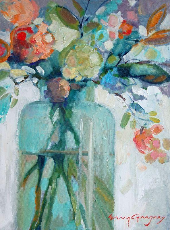 Erin Fitzhugh Gregory Fleurs Abstraites Peinture Fleurs Et
