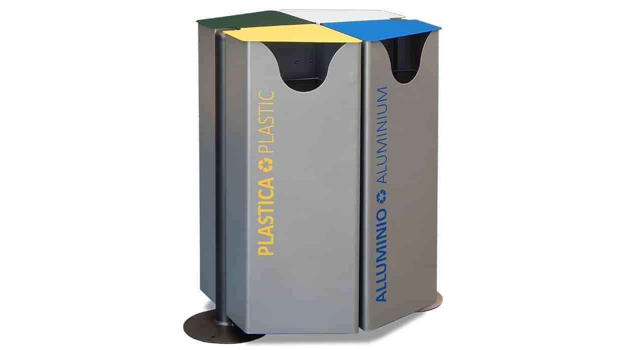 Poubelle Hex De Tri 4 Compartiments Recycling Aluminium