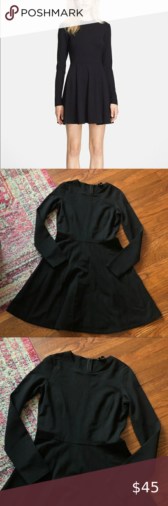 Theory Tillora Black Long Sleeve Fit Flare Dress Fit Flare Dress Fit Flare Black Long Sleeve [ 1740 x 580 Pixel ]