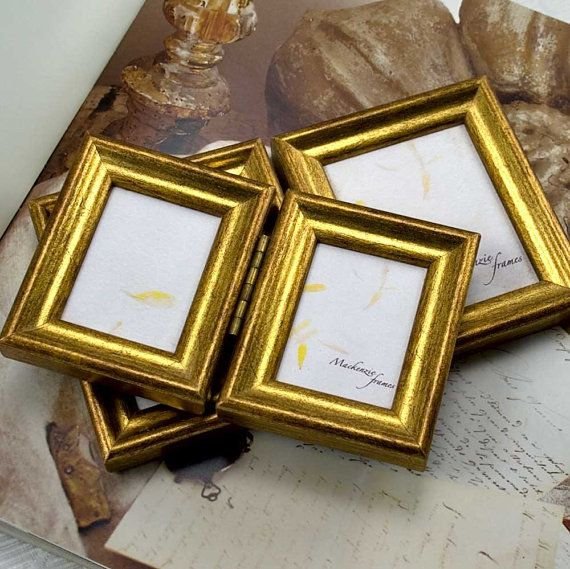 two mini hinged double deluxe gold photo frames par mackenzieframes 5500 - Mini Gold Frames