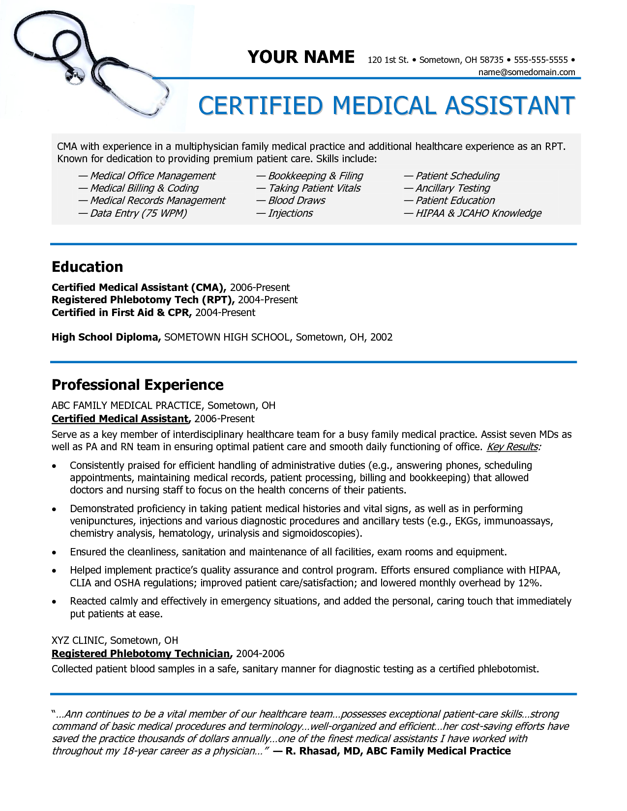 Medical Assistant Resume Entry Level Examples  Medical Assistant