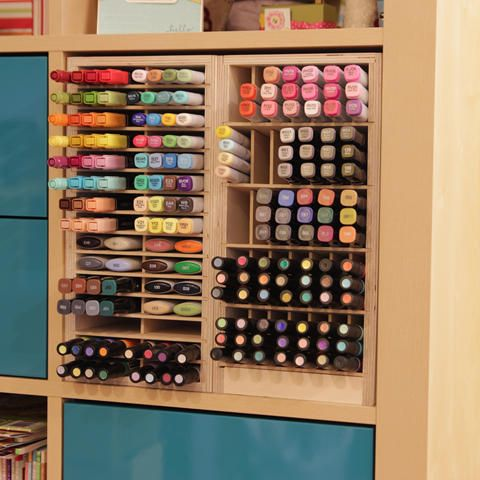 Ikea Marker Holders 480 Marker Storage That Fits In The Ikea Expedit Kallax Storage I Want This Marker Storage Craft Room Organisation Craft Room Storage