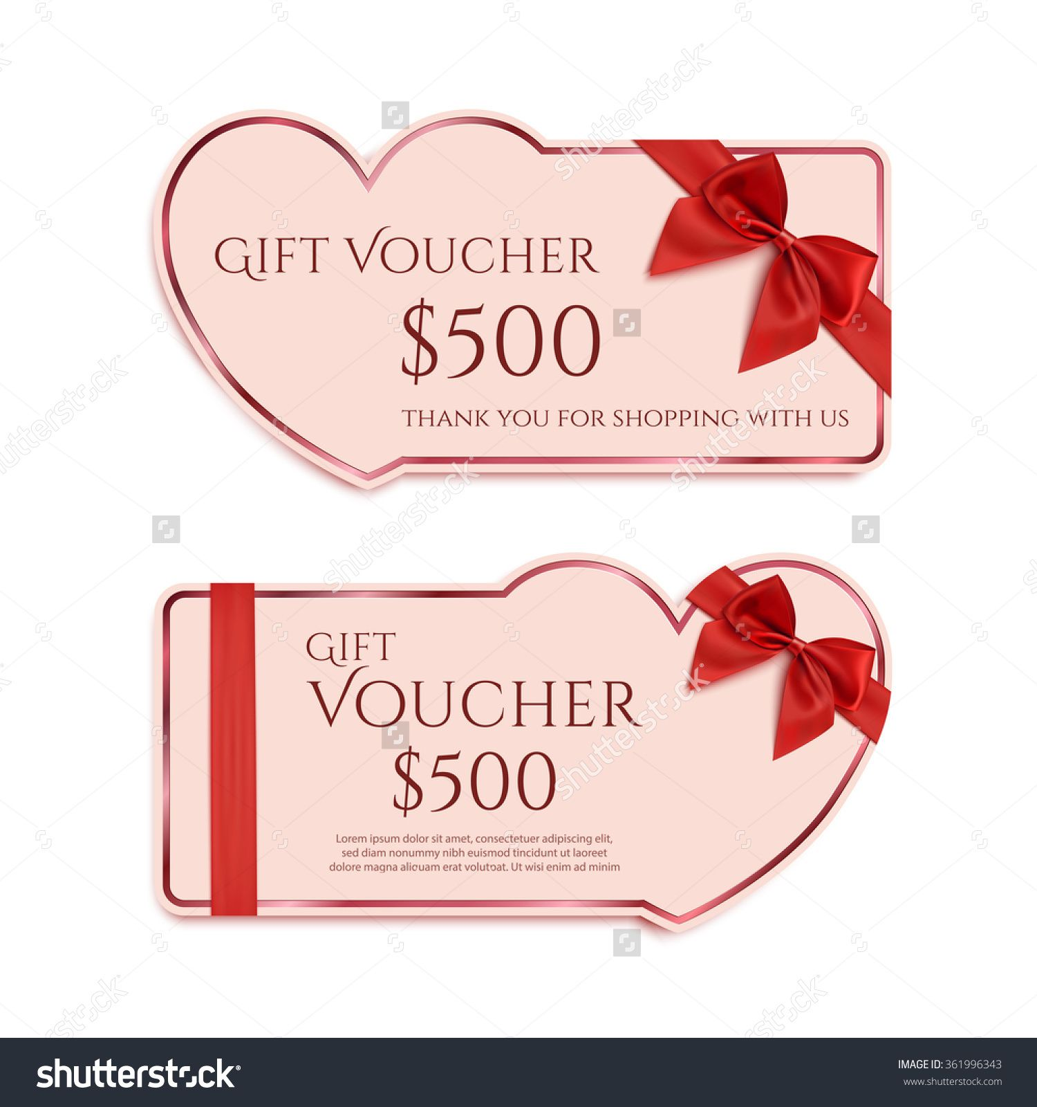 Two Gift Card Template With Red Ribbon And A Bow Valentines Day