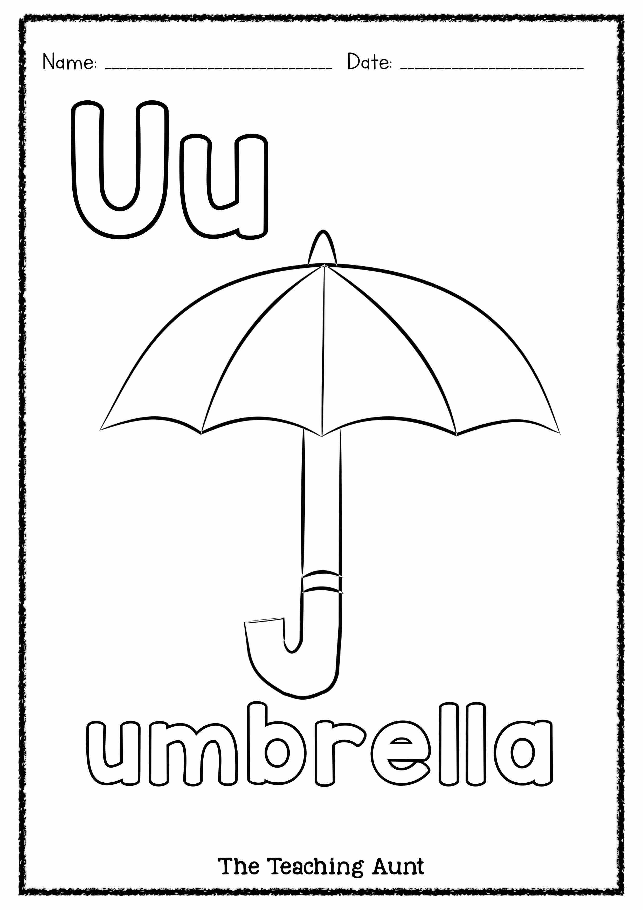 U Is For Umbrella Art And Craft The Teaching Aunt Umbrella Art U Is For Umbrella Umbrella Letter u worksheets for toddlers