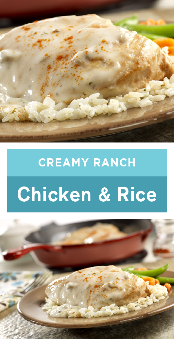 Ranch salad dressing mix easily adds bold flavor to sautéed chicken and rice in this recipe for Creamy Ranch Chicken  Rice Plus the whole dish will be ready for yo...