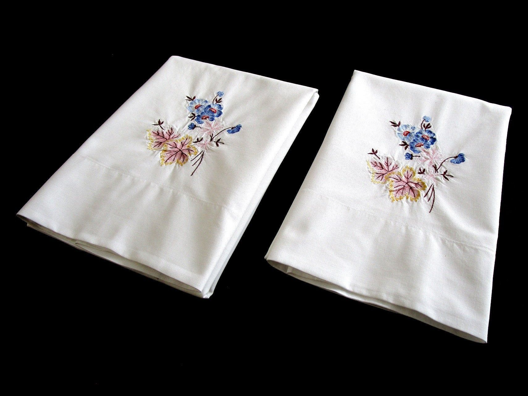 "Vintage Pair Floral Embroidered Pillowcases, Cotton/Poly Pillow Cases, Pink, Blue, Yellow, 18 3/4"" x 32 1/4"" (dp096)"