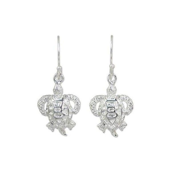 NOVICA Artisan Crafted Sea Turtle Earrings in Sterling Silver (35 NZD) ❤ liked on Polyvore featuring jewelry, earrings, dangle, sterling silver, dangle earrings, sterling silver earrings, sterling silver dangle earrings, long dangle earrings and turtle earrings