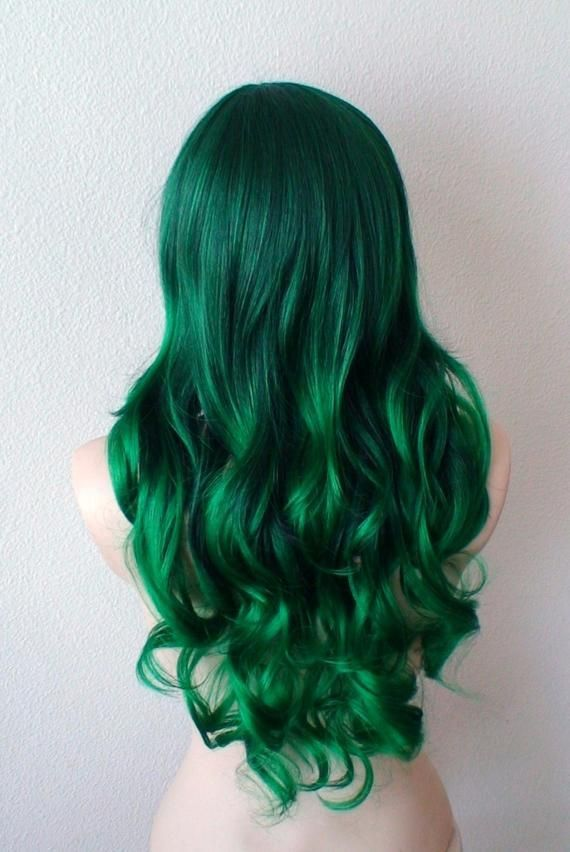 Irish Green wig. Ombre wig. Green hair Long Curly hairstyle wig.Durable Heat friendly synthetic wig