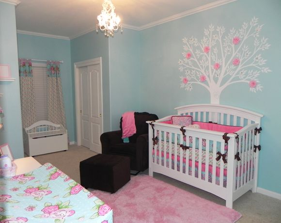 blue girl nursery-some of it is a tad girly for me but love that the wall  is blue with pink accents