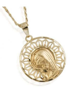 ae38fbfd74c Preciosa Medalla en Oro de Primera Ley. Forma Redonda Calada, con la virgen  niña en el centro. #medalla #oro #primera #ley #virgen #nina #comunion  #joyas