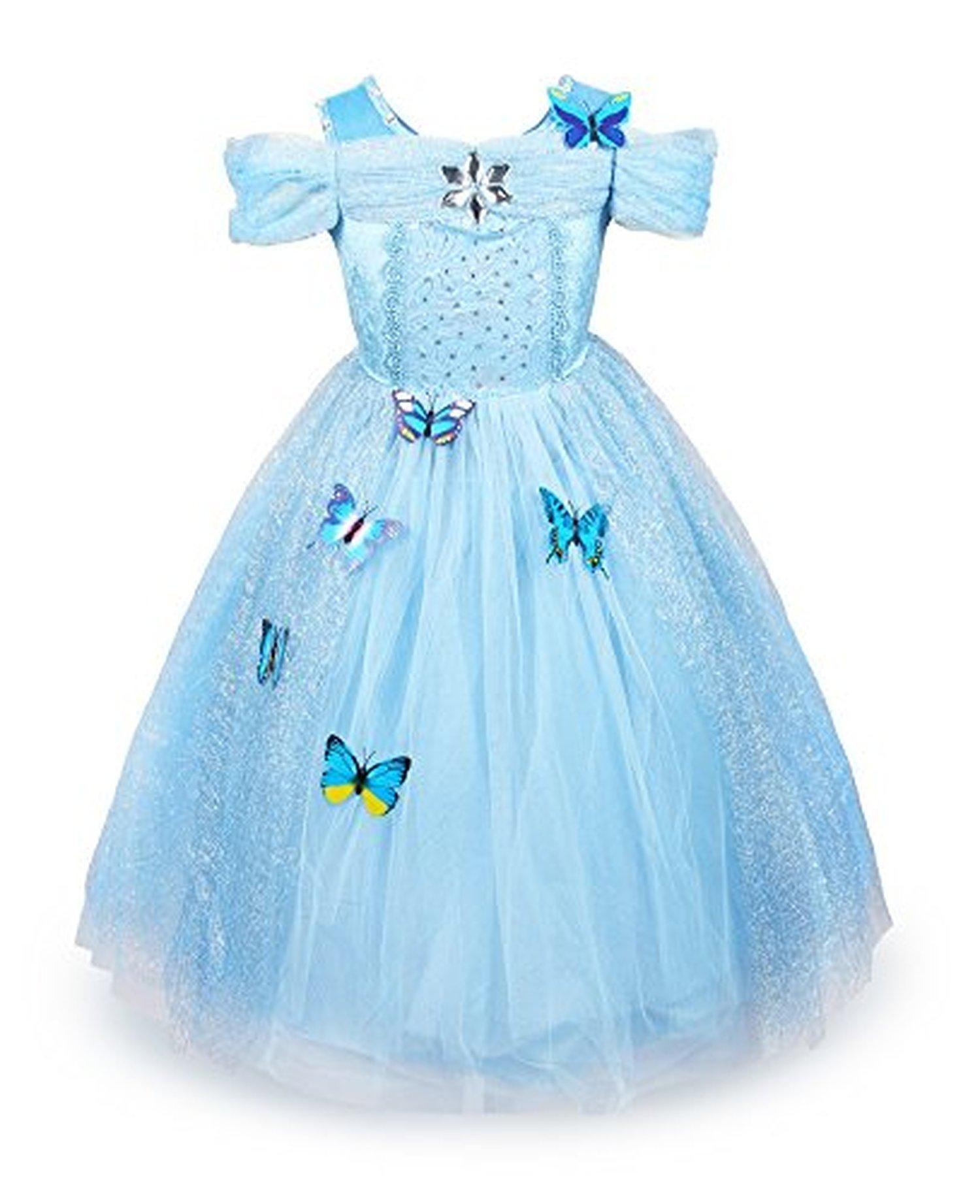 e7decffe2fb5 ReliBeauty Girls Cinderella Dress Halloween Costume (6x-7
