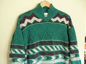 Vintage Segrid Olsen Segrets Sweater Knitted by Hand Pullover Cotton Size L | eBay