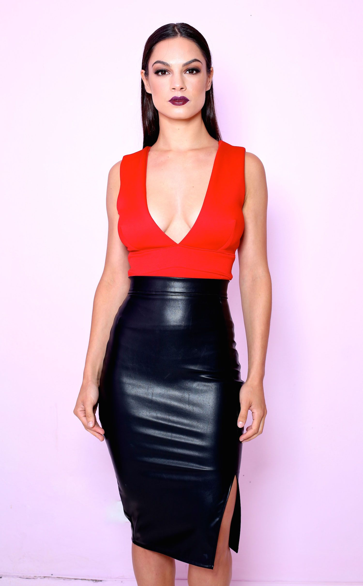Scarlet Iconic top and faux leather side split pencil skirt ...